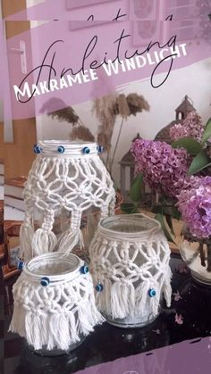 Macrame Wall Hanging Diy, Macrame Art, Macrame Projects, Macrame Knots, Diy Home Crafts, Diy Arts And Crafts, Mason Jar Crafts, Bottle Crafts, Art Macramé