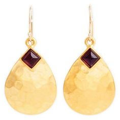 Check out this item at One Kings Lane! Hammered Petal Earrings, Amethyst