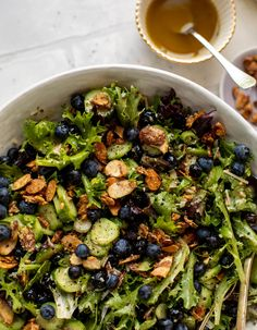 This blueberry summer salad is loaded with cucumbers, scallions, parmesan and sugared almonds. Topped with a creamy balsamic for tons of flavor! Easy Crepe Recipe, Crepe Recipes, Creamy Balsamic Vinaigrette, Salad Recipes, Healthy Recipes, Meatless Recipes, Buffalo Chicken Sandwiches, Salad Rolls, Berry Salad