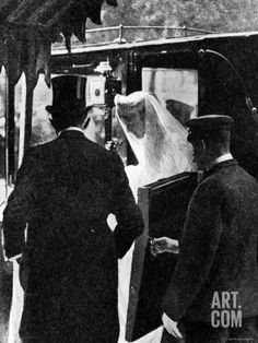Gowned and Veiled Clementine Hozier, Fiancee of Winston Churchill, Exiting Carriage on Wedding Day Premium Photographic Print at Art.com