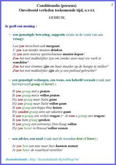 Conditionalis (presens) / Onvoltooid verleden toekomende tijd, o.v.t.t.: gebruik (2) Learn Dutch, Dutch Netherlands, Dutch Language, Study Motivation, Study Tips, Kids Education, Homeschool, Teacher, Writing