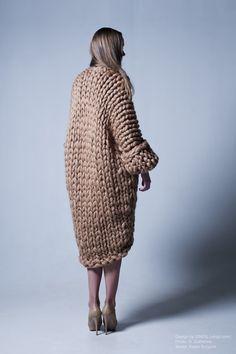 Knitted chunky coat by Vingil.