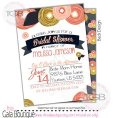 Bridal Shower Invitation    Peach Coral and by TheGalaBoutique