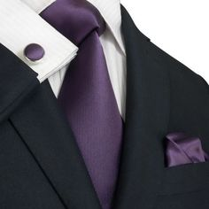 """3PC Silk Necktie Color: Purple 59"""" Length, 3.75"""" Width Matching Cufflinks and Pocket Square"""