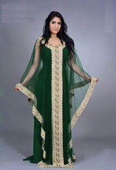 Moroccan Kaftan Dress, Long Kaftan Dress, Kaftan Gown, Hijab Dress, Abaya Designs, Mode Outfits, Fashion Outfits, Mode Glamour, Arabic Dress