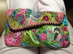 Beautiful crazy quilt clutch by Pat Winter.  CQ 2 bag lime pink