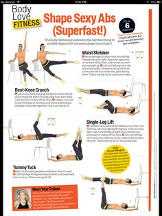Tracy Anderson's Shape Sexy Abs Tracy Anderson Abs, Ab Exercises, Ab  Workouts, Quick