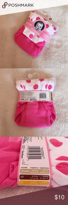 Baby girl training pants! • NWT Gerber brand baby girl training pants!                                        • Size: 2T!                                                                  • Two pack!                                                                 • Inquiry and offers welcome! Gerber Intimates & Sleepwear Panties