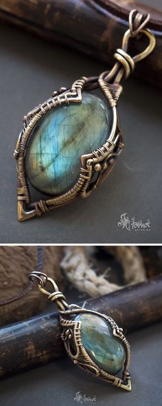 Super nice wire wrap shape on bezel Wire wrapped stone // Wire wrap labradorite necklace