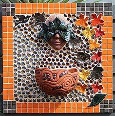 "MY LATEST PIECE: ""AUTUMN GODDESS"" Mosaic Pots, Face Mug, Wall Plaques, Faeries, Kara, Original Art, Autumn, Create, Mosaics"