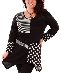 Another great find on #zulily! Black & White Polka Dot Tunic - Plus by Aster #zulilyfinds