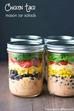 Chicken Taco Mason Jar Salads on MyRecipeMagic.com