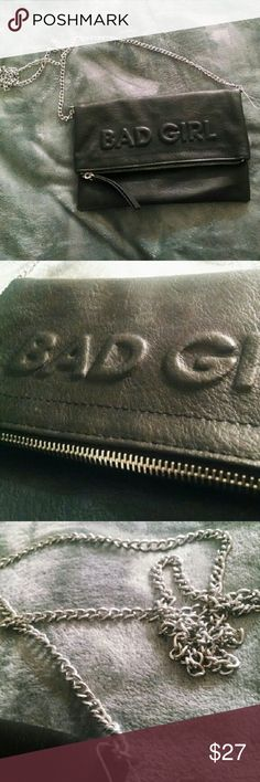 NEW Bad Girl Embossed Clutch Crossbody Bag Purse Bad Girl Embossed Clutch - Silver Hardware & Zipper Bags Clutches & Wristlets