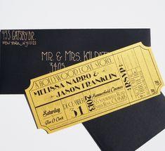 Old Hollywood Art Deco Gold Movie Ticket by brighteyedbirdie, $5.50