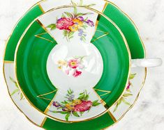 Radford's Crown China Spring Green Panelled Pink Floral Tea Cup and Saucer