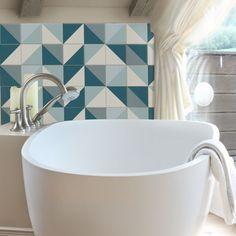 Fliesenaufkleber - Blaues Dreieck Muster Set 10x10 cm - Fliesensticker Set