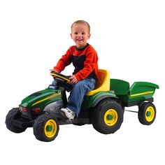 Peg Perego John Deere Farm Tractor and Trailer. Realistic John Deere tractor w/matching trailer. Easy to pedal with enclosed bicycle chain drive Tractors For Kids, John Deere Tractors, Pedal Tractor, Pedal Cars, Peg Perego, Thing 1, Kids Ride On, Ride On Toys, Outdoor Toys