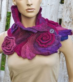 Crochet Scarf Roses Unique Capelet textured  Freeform crochet Shadows Purple Womens scarf Neck Warmer Womens scarf scarf gift