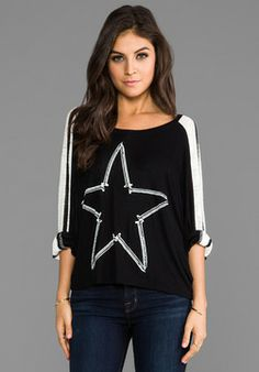 Lauren Moshi Nellie Nail Star Sweater in Black/White Stripe on http://shefinds.shopstyle.com