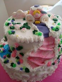 Princess cake with carriage ride..sugar flowers and water