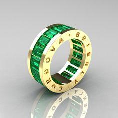 Mens Modern 14K Yellow Gold Emerald Channel Cluster Infinity Wedding Band R174-14YGEM. $1,749,00, via Etsy.