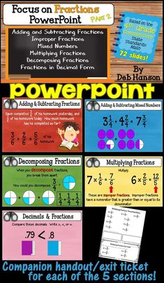 4th Grade Fractions PowerPoint! This PowerPoint focuses on the steps to add and subtract fractions and mixed numbers, improper fractions, decomposing fractions, multiplying fractions, and decimals. Five sections are included, and each has its own companion handout and exit ticket for formative assessment! This matches the 4th grade CCSS for fractions!