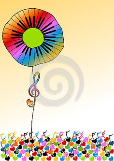 Illustration about Flower with rainbow piano keyboard planted on music notes field. Illustration of concert, audio, classical - 40478699 Music Drawings, Music Artwork, Music Images, Music Pictures, Textiles Sketchbook, Fun Songs, Rainbow Flowers, Piano Keys, Elements Of Art