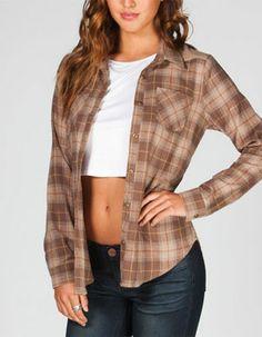 FULL TILT Peach Skin Yoke Womens Flannel Shirt