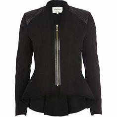 Black quilted shoulder dip hem peplum jacket - jackets - coats / jackets - women