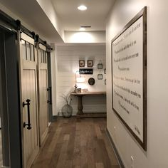 Do you have your laundry room in the basement ? We custom build these wood barn doors as a unique statement. Build and designed by Black Dog Design House. Residential Interior Design, Commercial Interior Design, Commercial Interiors, Interior Design Services, Wood Barn Door, Barn Doors, Dog Design, House Design, Construction Contractors