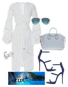 "Original Pin: ""Goddess in Greece"" by blackandco14 on Polyvore featuring Johanna Ortiz, Givenchy, Tiffany & Co., Yves Saint Laurent, Giuseppe Zanotti, Packandgo and greekislands"
