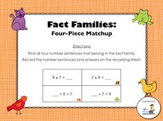 Countdown to Christmas Day 8 freebie - Fact Families (with multiplication and division sentences) - students will find the number sentences that create the fact family and record them on the recording sheet; answer key included)
