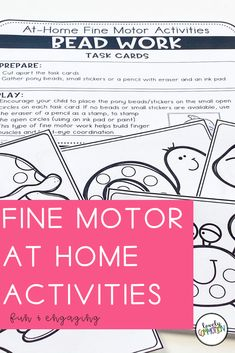 Are you trying to teach families with distance learning?Are you using take home packets during this school closure?Homeschooling and need some preschool activities?These At Home Fine Motor Activities are what you need! Gross Motor Activities, Preschool Learning Activities, Preschool Lesson Plans, School Closures, Early Education, Student Learning, Fine Motor, Homeschooling, Distance