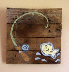 Fish+artFishing+pole14x14Rustic+ArtFishing+by+RusticTreeHouse,+$50.00