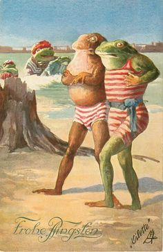 two dressed frogs in bathing suits walk on beach, others in sea