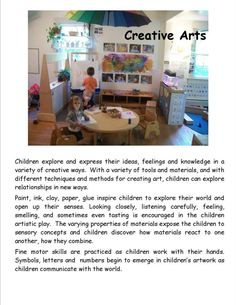 Garden Gate Child Development Center - Creative Arts poster by Garden Gate Child Development Center ≈ ≈ For more inspiring pins: pint - Play Based Learning, Learning Through Play, Learning Centers, Sensory Activities, Learning Activities, Teaching Resources, Learning Stories Examples, Sudoku, Family Day Care