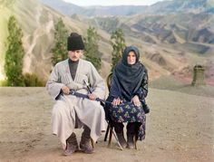 A man and woman pose in Dagestan, ca. 1910. Russia in color, a century ago - The Big Picture - Boston.com