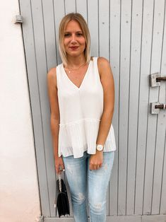 Frühsommer-Outfit-Alice-Christina-Blog-10 Bluse Outfit, Ballerinas, Jeans, Basic Tank Top, Camisole Top, Blazer, Tank Tops, Casual Chic, Sporty Chic