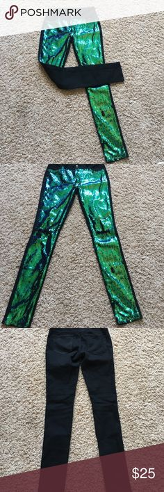 Sequin Pants Wore a couple times - like new! Sequins on front - black in back - holes in knees double platinum Pants Skinny