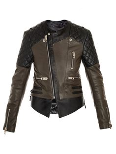 Balenciaga, quilted shoulder biker jacket