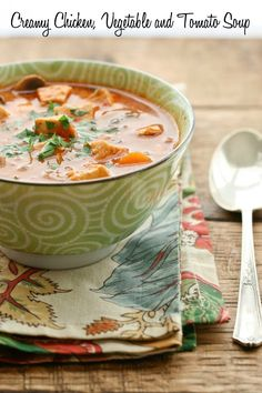 A mixture of vegetables, chicken, tomato and cream are stirred and simmered together to create a quick and nourishing soup.