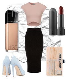 """Sin título #101"" by carolina-otarola-xx ❤ liked on Polyvore featuring Warehouse, Dee Keller, Edie Parker, Maybelline, black and nude"