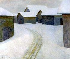 bofransson Veikko Vionoja (Finnish, - The Old Village, 1956 Nordic Art, Old Things, Snow, Landscape, Illustration, Painting, Outdoor, Image, Roads