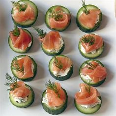 """Cucumber Cups with Dill Cream and Smoked Salmon I """"Classic combos are classic because the flavors go well together! Dill, cucumber, and smoked fish are combined with a bit of lemon to perk things up. Smoked Salmon Appetizer, Smoked Salmon Recipes, Smoked Fish, Smoked Trout, Cucumber Cups, Cucumber Bites, Cucumber Appetizers, Easy Canapes, Brunch Appetizers"""