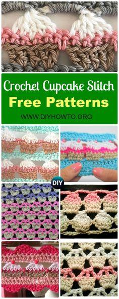Collection of Crochet Cupcake Stitch Free Patterns: an fun and easy stitch for beginners with mainly double crochet, and some variations via @diyhowto
