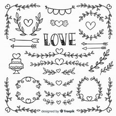 Sammlung hand gezeichnete hochzeitselemente Kostenlosen Vektoren Best Picture For DIY Anniversary decorations For Your Taste You are looking for something, and it is going to tell you exactly what you Heart Doodle, Doodle Art, Doodle Wedding, Free Doodles, Heart Clip Art, Page Decoration, Wreath Drawing, Bullet Journal Art, Lettering Tutorial