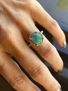 Gold Royston Turquoise Diamond Halo Ring Native American Jewelry For Sale - Rated 100 Authentic Turquoise Wedding Rings, Gold Diamond Wedding Band, Gold Diamond Rings, Halo Diamond, White Gold Rings, Diamond Jewelry, Emerald Diamond, Silver Jewelry, Silver Rings