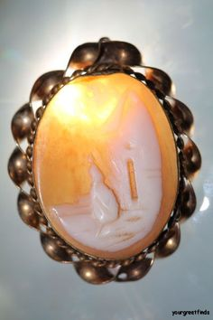 Antique Gold Filled over Brass Hand Carved Shell Cameo Brooch