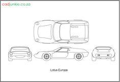 2D Vehicles: Lotus Europa CAD Format: AutoCAD 2013  Block Type: 4x2D Block  Units: mm Autocad, 2d, Lotus, Soap, Type, Vehicles, Europe, Lotus Flower, Car