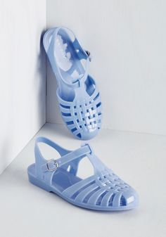 Jelly or Not Sandal. Here you come, and youre wearing this darling pair of periwinkle sandals! #blue #modcloth